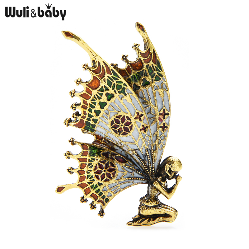 Wuli&baby Vintage Butterfly Wings Fairy Brooches Quality Enamel Women Brooch Pins 2 Colors 2021 Angel Designer Jewelry Gift