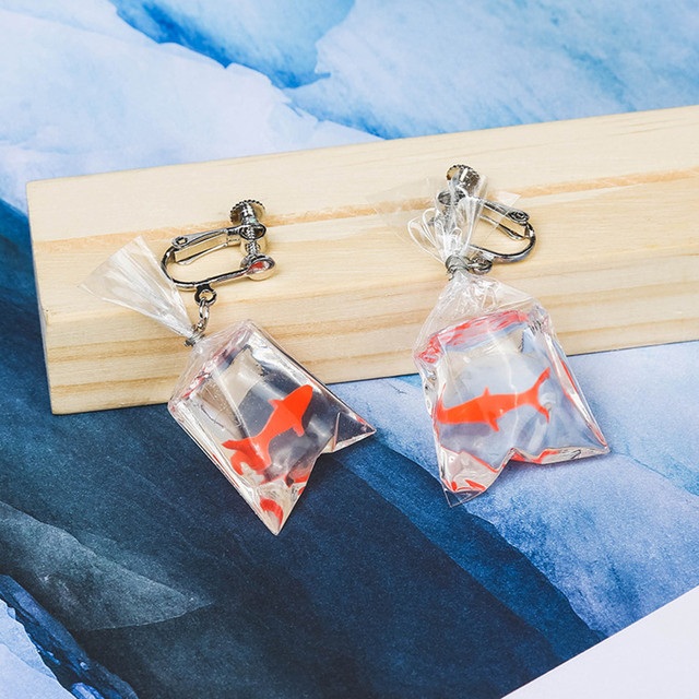 Goldfish Water Bag Earrings