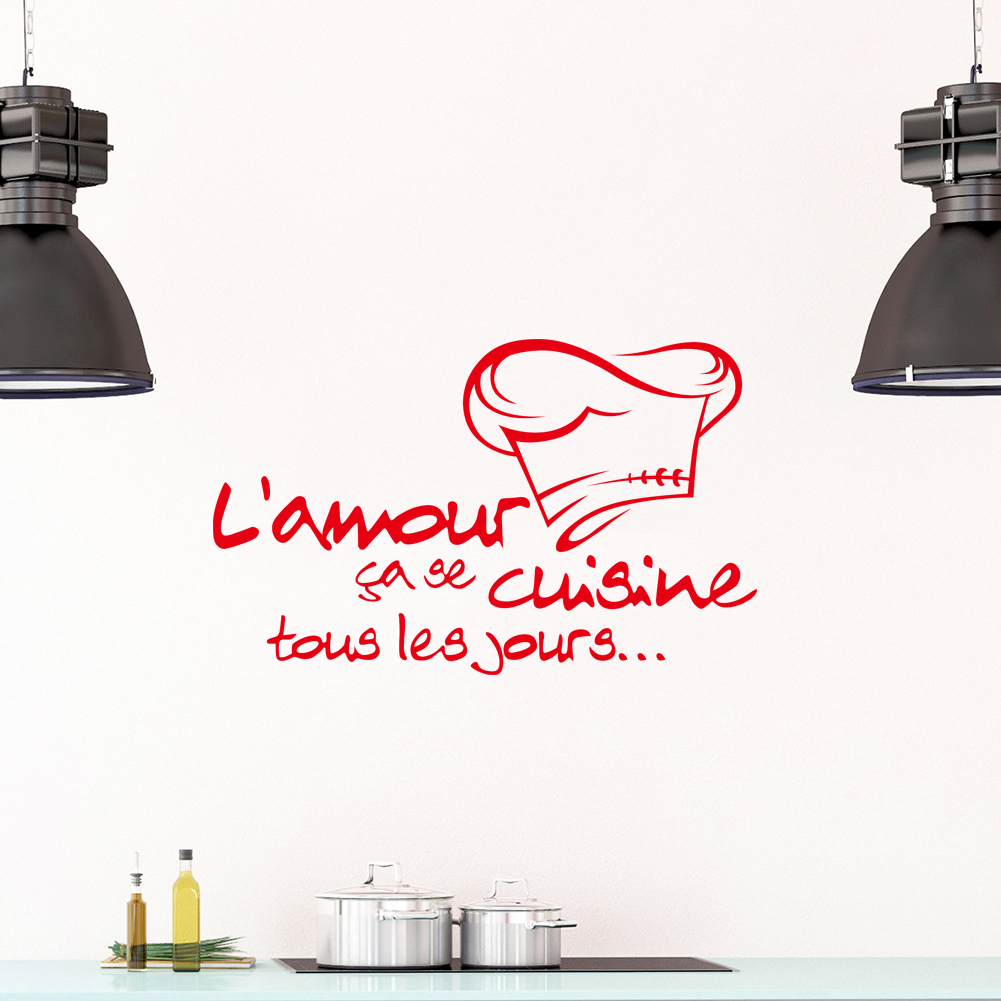 Autocollant mural amovible en vinyle, citation damour classique, amour Se Cuisine Tous les Jours, décalcomanies dart pour la décoration de la Cuisine