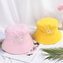 Bucket-Hat Panama Summer Fisherman-Cap Daisies Couple Sun-Flat-Top-Caps Foldable Double-Sided