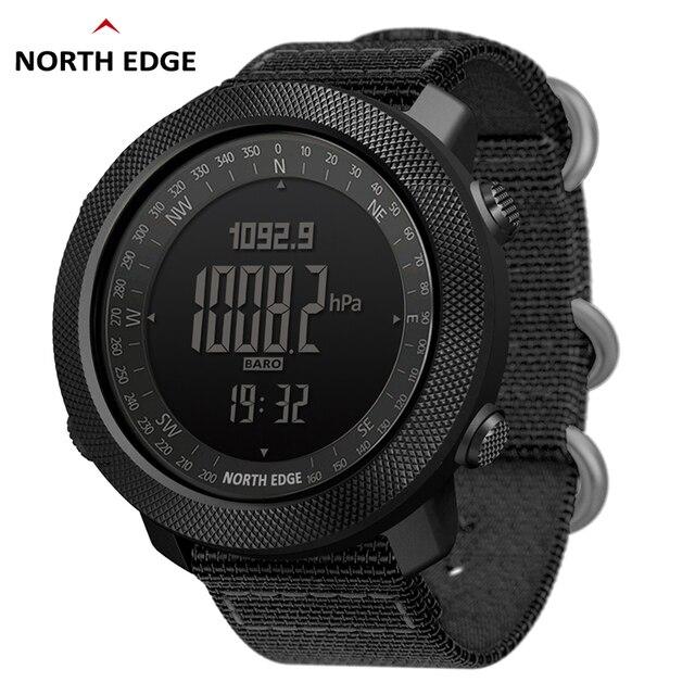 NORTH EDGE sportowy zegarek cyfrowy dla mężczyzn, wskazywanie godziny, tryb biegania, pływania, zegarki militarne, wojskowe, barometr, wysokościomierz, kompas, wodoodporny do 50m głębokości