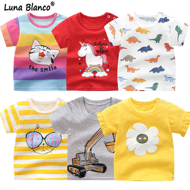 Girls 6M-5Y Summer T-Shirts Short Sleeve Tees Kids Children Casual Cartoon Unisex Cotton T-Shirts Boy Baby Clothes Girls Tops