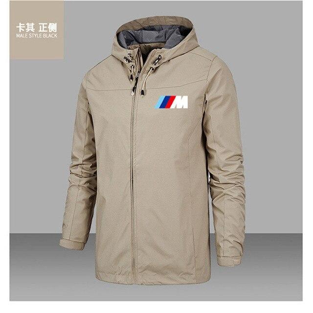 Bmw M Power Jacket Men Lightweight Hooded Zipper Waterproof Coat Windproof Warm Solid Color Fashion Male Coat Outdoor Sportswear 2