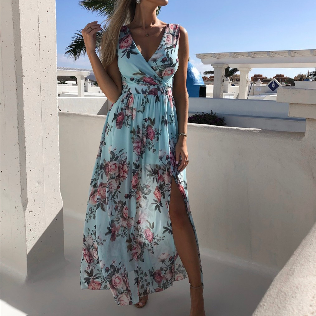 Women's Boho Casual Floral Sleeveless Beach Long Dress Fashion Ladies Holiday Casual Sundress Dress Hot