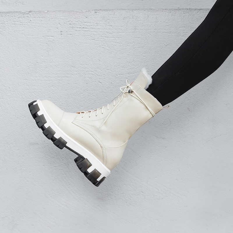 Hakiki deri kalın yüksek topuklu platformu kadın ayak bileği kar botları lace up kış sıcak çizmeler kadın bayanlar ayakkabı büyük boy 42 43