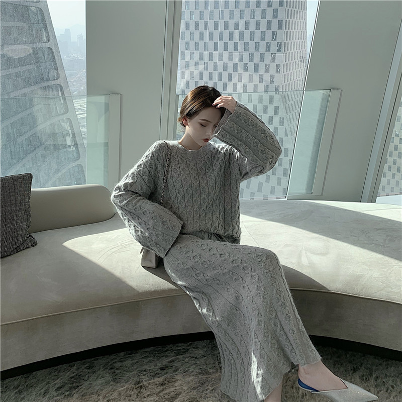 H3c586896e23343499c3c917fa0e6a9e7J - Autumn / Winter O-Neck Loose Grey Jumper and Knitted Maxi Skirt