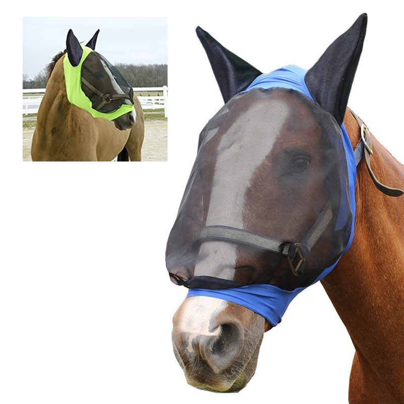 Horse Fly Mask Full Face Mesh Anti-UV Anti Fly Mask With Ears Accessories Horse Riding Meshed Protector Horse