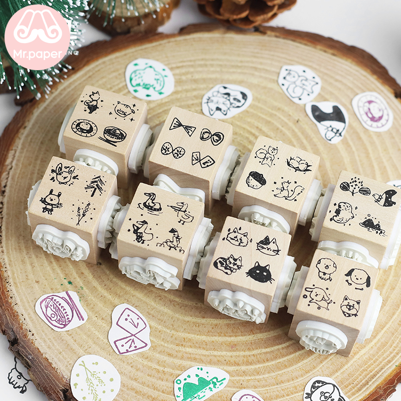 Mr.paper Cartoon Cat Butterfly Wood Stamp DIY Craft Wooden Rubber Stamps For Scrapbooking Diary Scrapbooking Standard Stamp