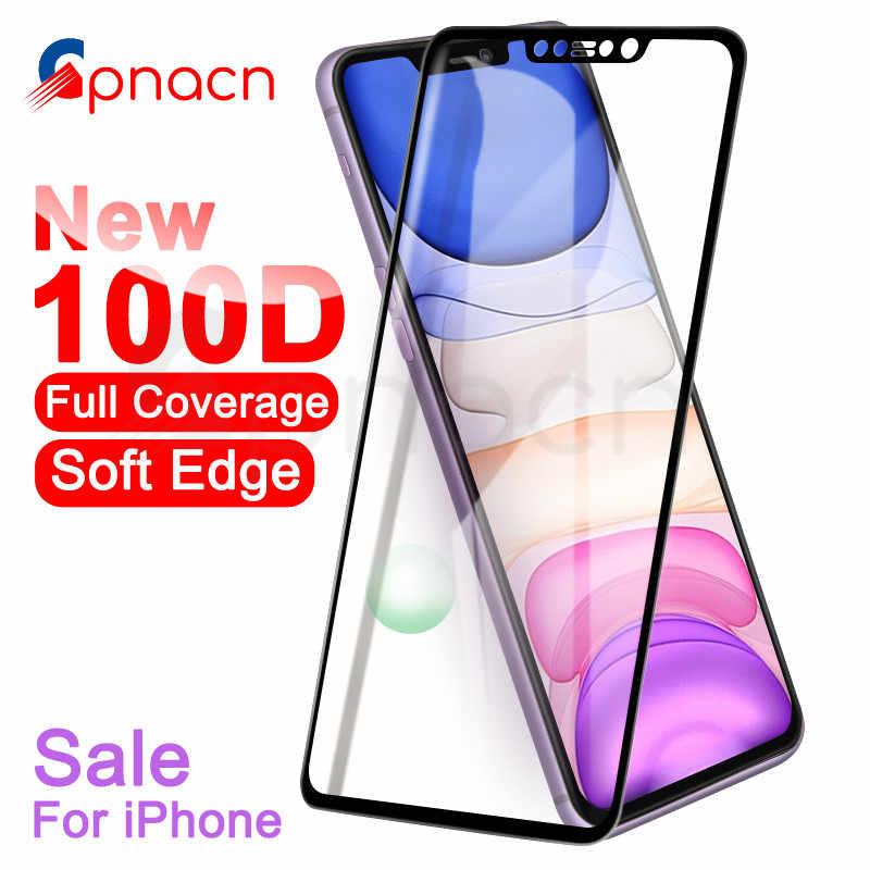 100D منحني غطاء كامل زجاج واقي على ل فون 7 8 6S زائد المقسى واقي للشاشة فون 11 برو X XR XS ماكس الزجاج