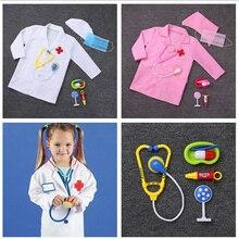 Детский подарок на день рождения медицинская форма больница Дети Мальчики доктор девушки халат для медсестер платье косплей костюмы на Хеллоуин костюмы на карнавал