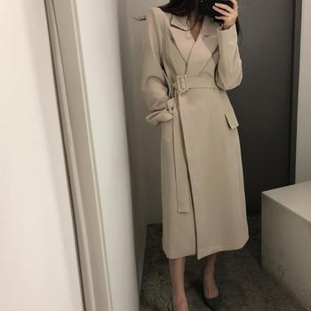 New spring autumn fashion Casual women's Trench Coat long Outerwear loose clothes for lady with belt fashion new women trench coat long double breasted belt blue khaki lady clothes autumn spring outerwear