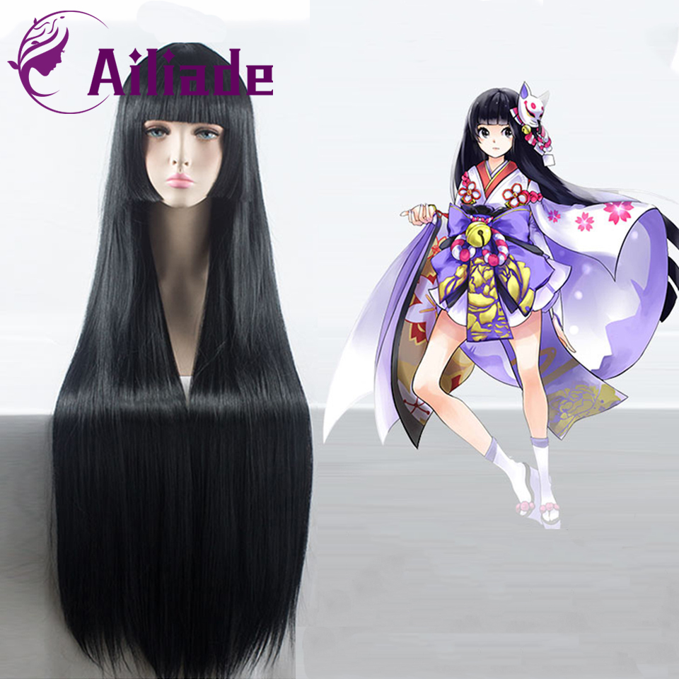 AILIADE recto largo negro rosa púrpura peluca sintética fibra resistente al calor carnaval traje Peluca de Anime Cosplay diario falso pelo