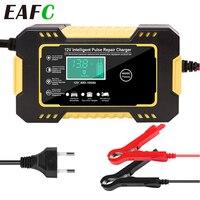 Cargador inteligente para batería, de motocicleta y coche, 12V, 6A, compatible con baterías de gel y de plomo ácido AGM, pantalla digital LCD, carga inteligente VRLA