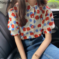 Neploe Blume Taste Up Shirts Frauen 2021 Sommer Blusen Blusas Vintage Elegante Bluse Korean Fashion Puff Sleeve Damen Tops
