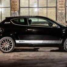 Saia lateral Etiqueta Decalques de Corrida Esporte Stripe Wraps Adesivos Corpo Para Alfa Romeo Mito Giulietta Giulia Stelvio 147 156 159 166