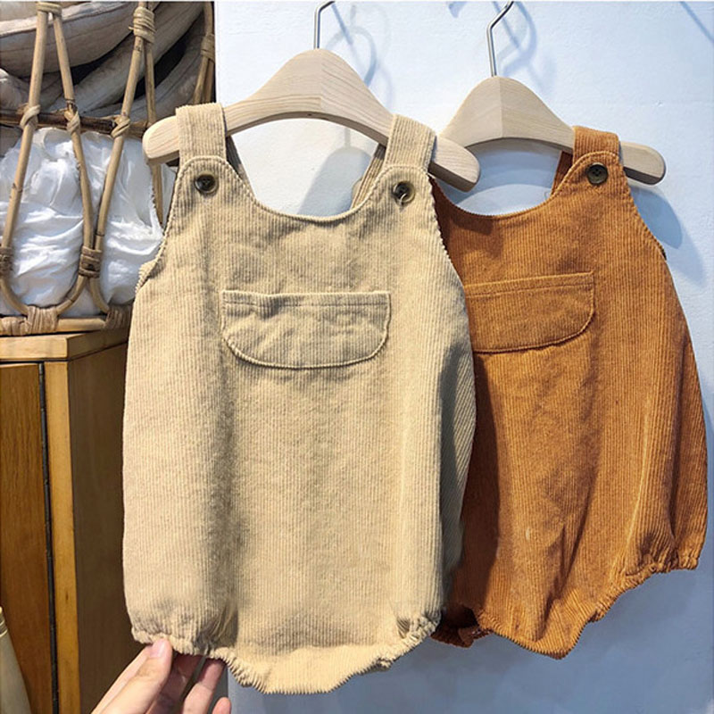 MILANCEL  Baby Bodysuits Corduroy Baby Bodysuits Buttons Style Toddler Boys One Piece