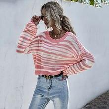 Женский свитер в полоску с высоким воротником и пуловер вязаный