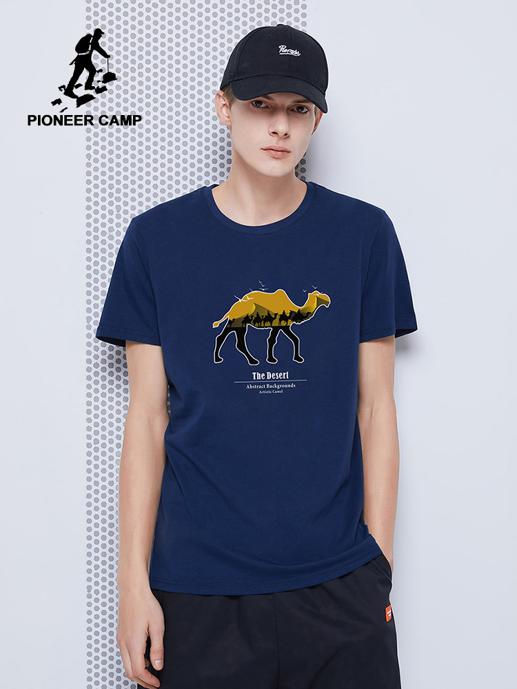 Pioneer Camp New Summer Men T-shirts Fashion Casual White Black Blue 100% Cotton Men's Clothes 2020 ADT0206043
