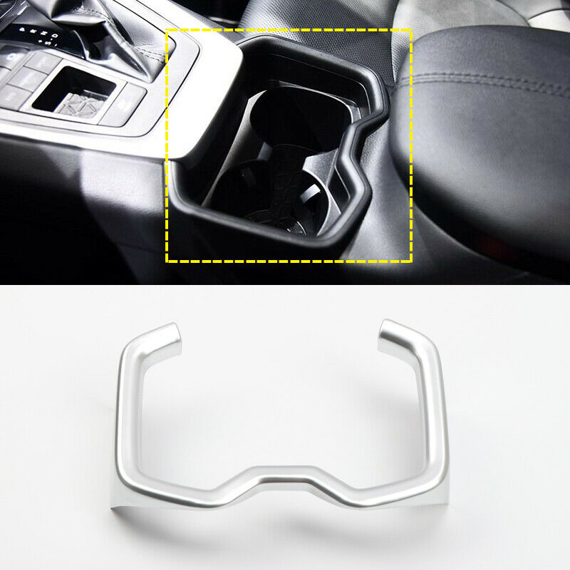 ABS Silver Car Water Cup Holder Cover Trim Central Control Cup Holder Cover for 2019 <font><b>2020</b></font> Toyota <font><b>RAV4</b></font> image