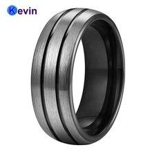 Черный обручальное кольцо tungsten мужское женское купольная