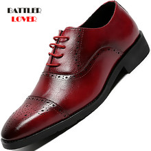 2020 Genuine Leather Brogue Shoe Men Formal Elegant Classic Business Wedding Shoes for Male Social Steampunk Dress Footwear(China)