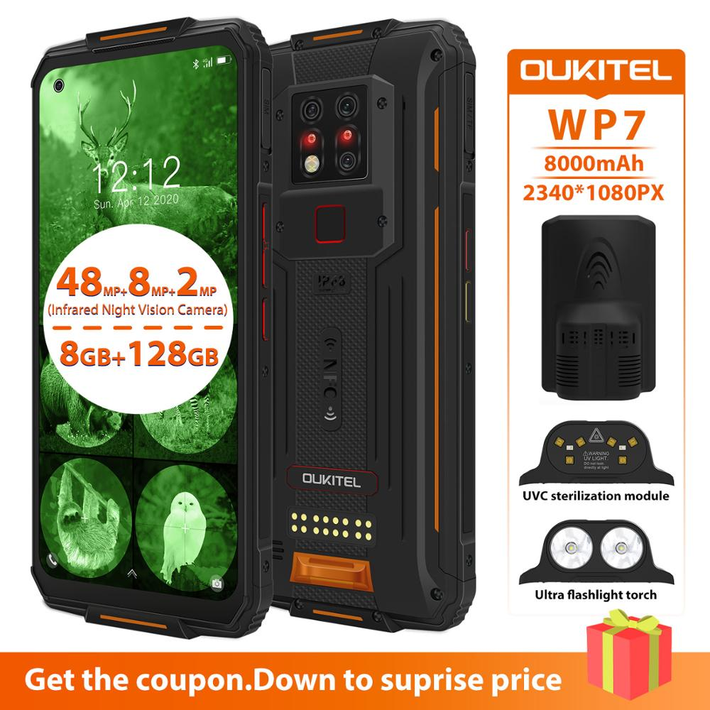 "OUKITEL WP7 NFC UVC Sterilization Smartphone  IP68 8GB 128GB 8000mAh 48MP 6.53"" Android 9.0 Octa Core Waterproof Mobile Phone"