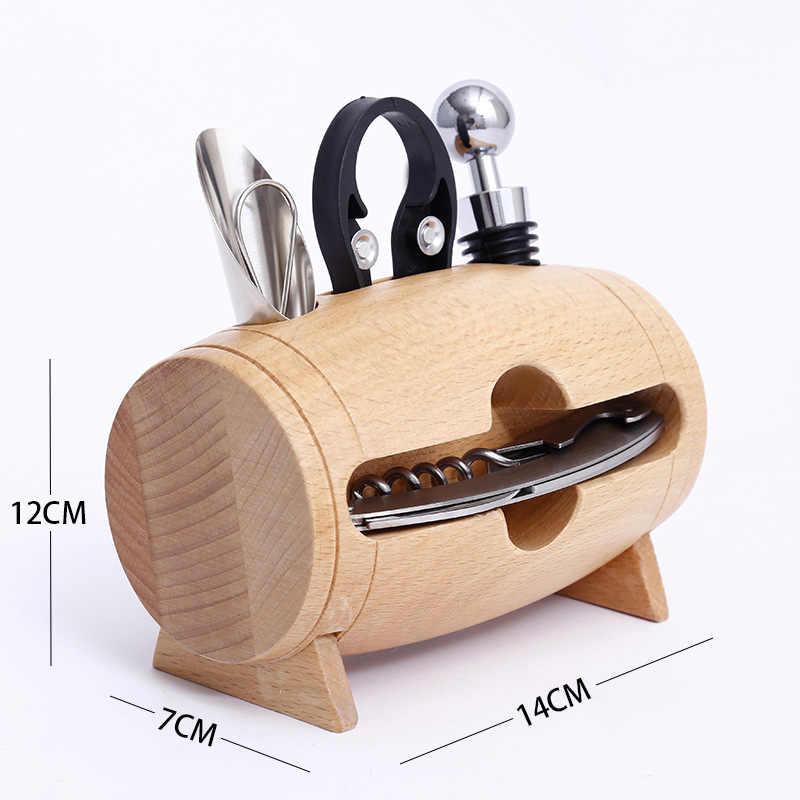 4 قطع شريط أداة مجموعة النبيذ فتاحة الزجاجات مع الخشب مربع حامل المفتاح المدفق فتاحة الزجاجات التبعي المنزل أداة هدية للأصدقاء