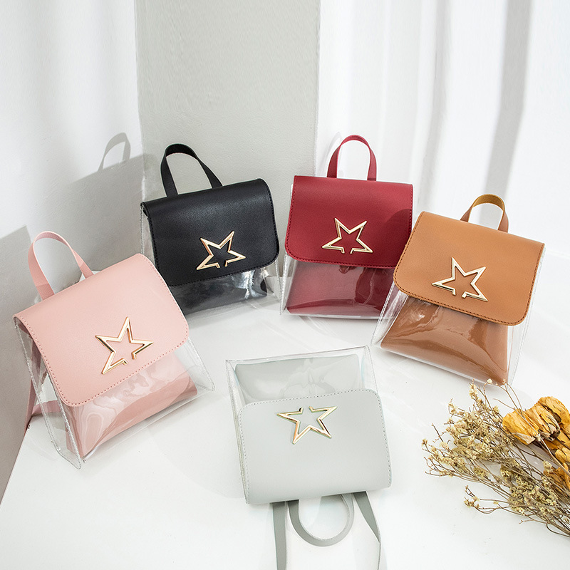 Mini Size Transparent Women Backpacks Clear PVC Teenager Girls Zipper Student School Backpack Travel Bag Mochila Feminina