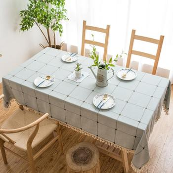 Plaid Pattern Tassel Dinning Table Cover Anti-hot Tablecloth Party Holiday Decor Linen Tablecloth kitchen table image