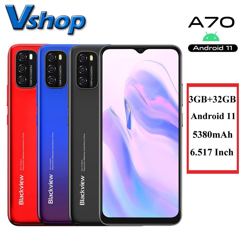 Blackview A70 3 ГБ + 32 ГБ, Android 11 смартфон 6,517 дюймов Дисплей Octa Core 5380mAh13MP сзади Камера 4G мобильный телефон