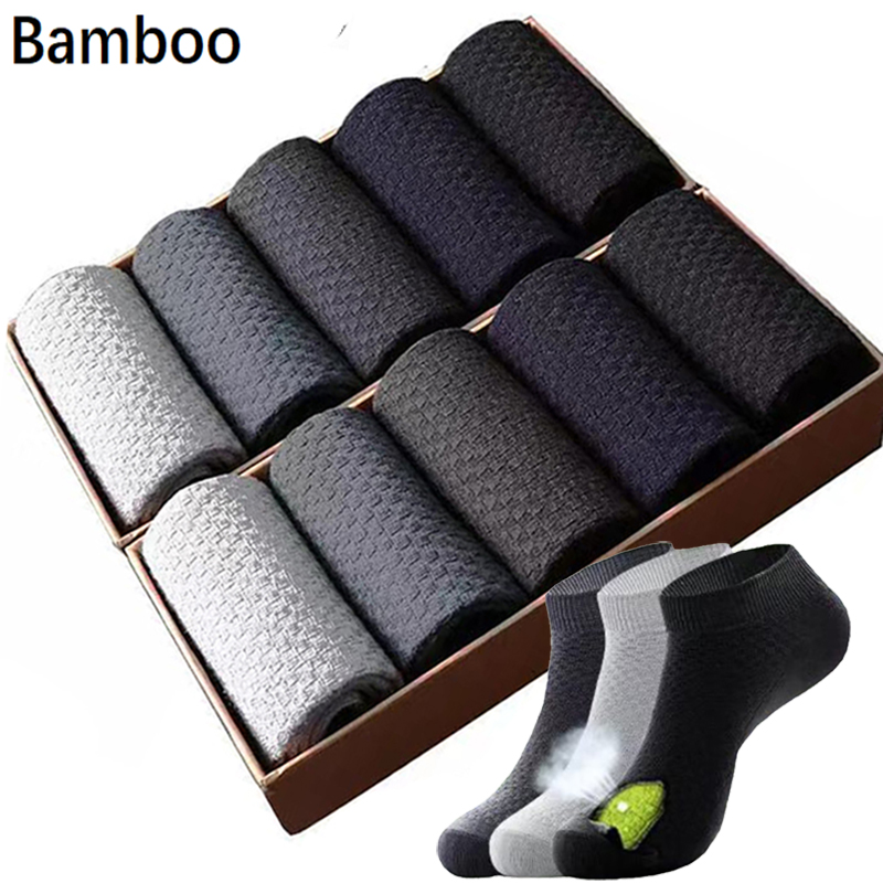 10Pair/Lot Men Socks Bamboo Fiber Short Business Casual Ankle Socks Breathable Anti-Bacterial Man Socks Size39-45 Drop Shipping