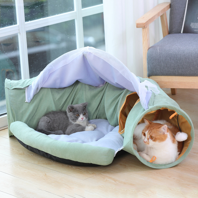Cozy Foldable Kitten Play Tunnel & Lounger  2