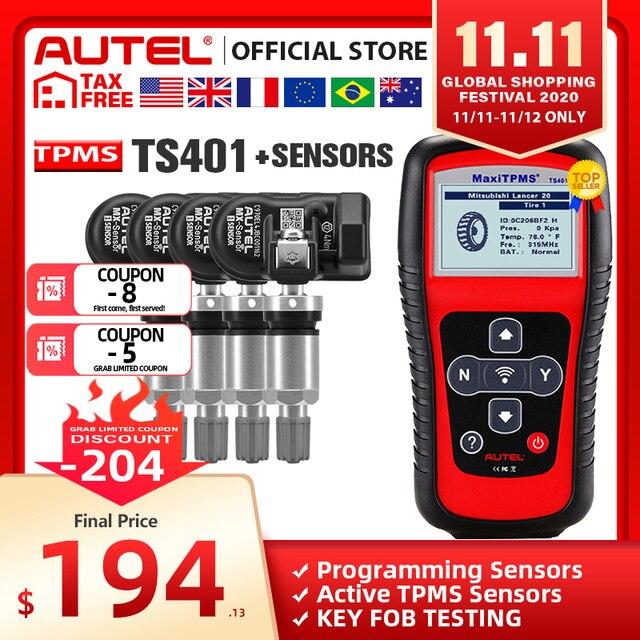 Autel TPMS أداة MX الاستشعار 433MHZ 315MHZ سيارة الإطارات أداة إصلاح برنامج استشعار ضغط الإطارات بواسطة MaxiTPMS الوسادة TS401 TS601 MK808 TS