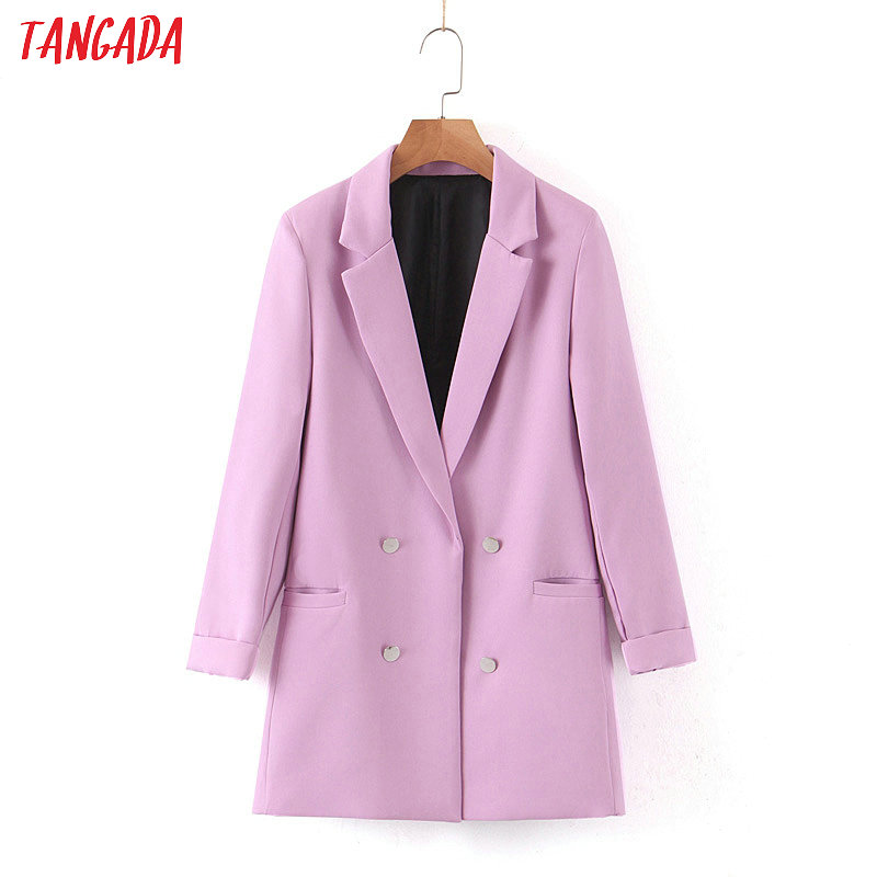 Tangada Women Light Purple Formal Blazer Long Sleeve Ladies Coat Female Pockets Buttons Blazer Work Office Business Suit SL183