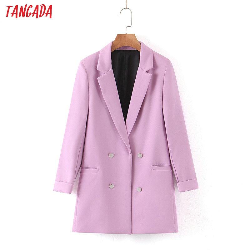 Tangada Women Light Purple Formal Blazer Long Sleeve Ladies Coat Female Pockets Buttons Blazer Work Office Business Suit SL183