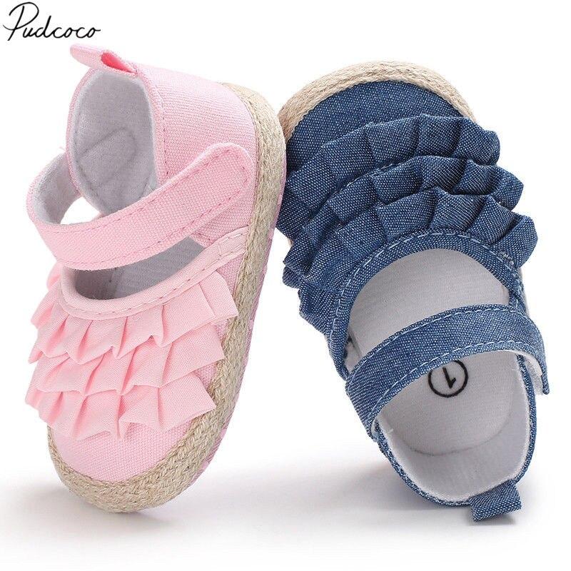 Newborn Infant Baby Girl Summer Kids Shoes Soft Sole Crib Prewalker Toddler Anti-Slip Solid Ruffled First Walkers