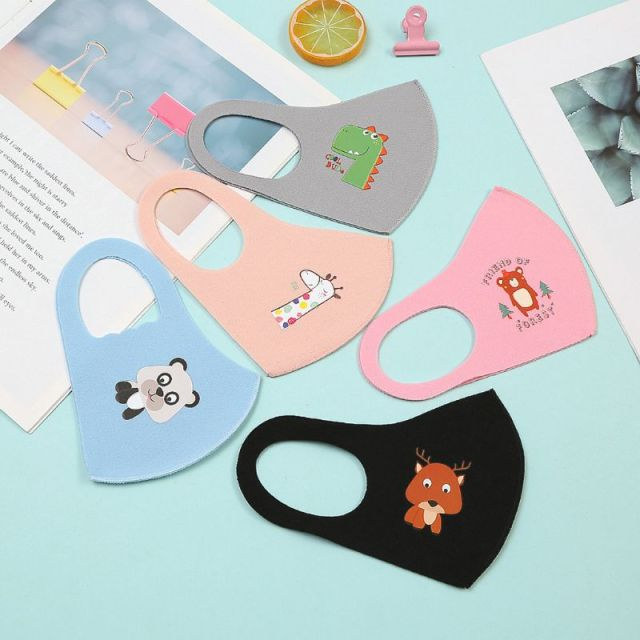 10Pcs PM2.5 Kid Reusable Anti Flu Face Mask Breathable Washable Sponge Dustproof Mouth Mask Random Pattern for Children 4