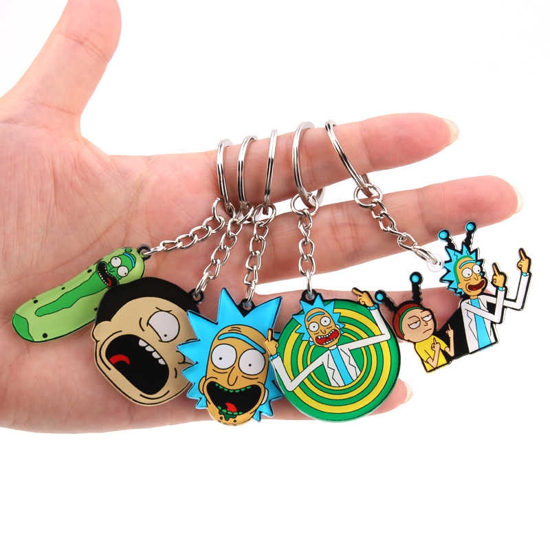 Rick And Morty Keychain Women and Men Key Chain Cute Anime Cartoon Kids Key Ring Gift Porte Clef