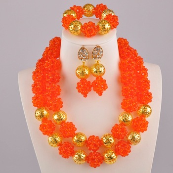 Orange African Jewelry Set Nigerian Wedding Beads Sets