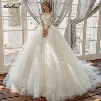 Alonlivn High Quality Vestido de Noiva Elegant Tulle Wedding Dresses O-Neck Princess Ball Gown Bridal Applique Beaded Sash - discount item  33% OFF Wedding Dresses
