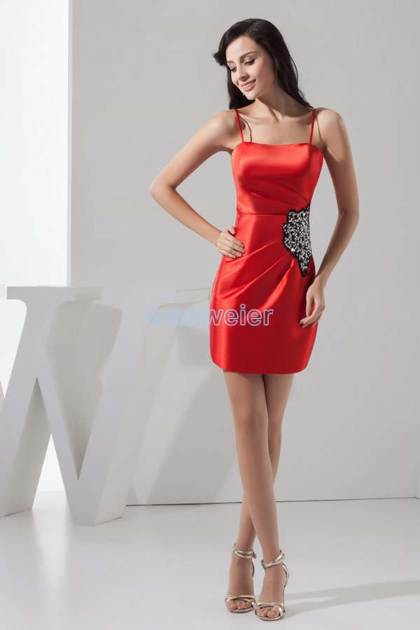 Free Shipping New Design 2015 Hot Sale Beading Custom Size/color Crystal Beading Sexy Red Short Mini Cocktail Party Dresses