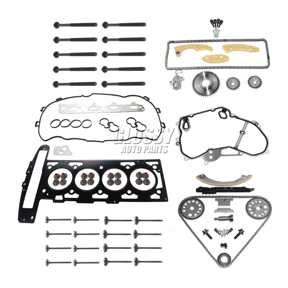 AP02 For GM Opel Z22SE 2.2 16V Timing Chain Kit + Cylinder Head Gasket Set + Bolts +  Inlet Exhaust Valves|  - title=