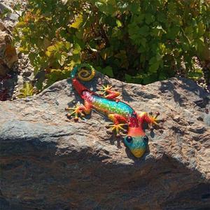 Image 3 - Gecko del metallo Della Decorazione Della Parete con Vetro per la Casa Decorazione del Giardino e Miniature Giardino Statue Allaperto Fata Ornamenti Da Giardino Fata