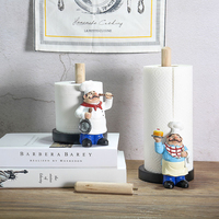 29.5cm Resin Chef Double Layer Paper Towel Holder Figurines Creative Home Cake Shop Restaurant Crafts Decoration Ornament Gift