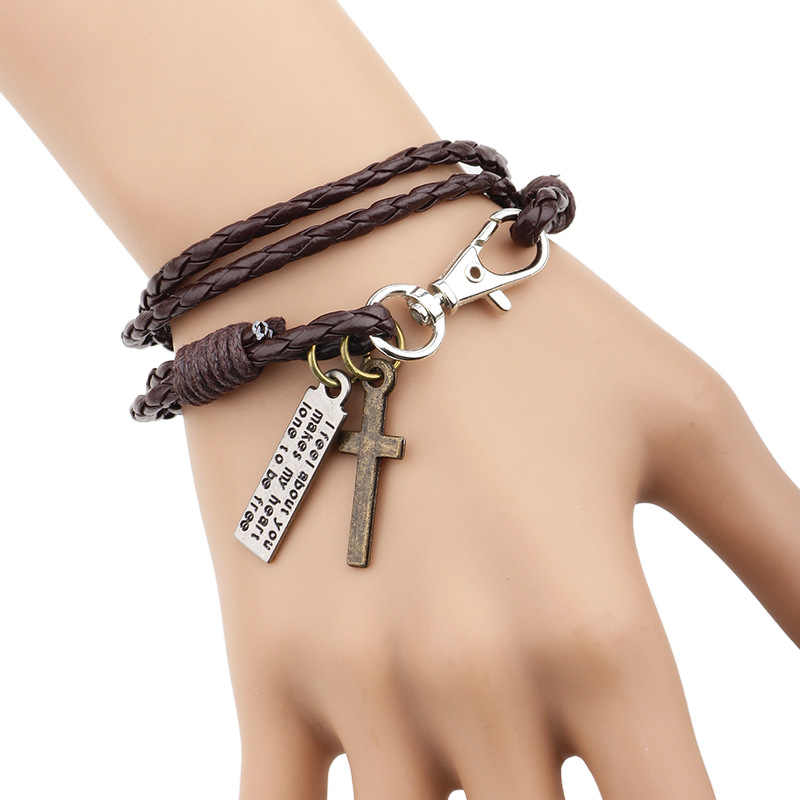 SIZZZ 2019 Korean style cross leather original jewelry national double fashion bracelet&bangles for women