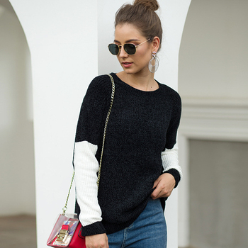 2019 Amazon brand new sweater black-and-white collision color chenille Autumn and winter foreign trade sweater women brand new black white color frsky accst taranis q x7 qx7 2 4ghz 16ch transmitter