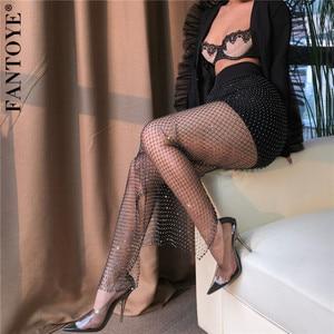 Image 5 - Fantoye New Crystal Diamond Shiny Women Pants Summer Sexy Hollow Out Elastic Fishnet Trousers Fashion See Through Beachwear Pant
