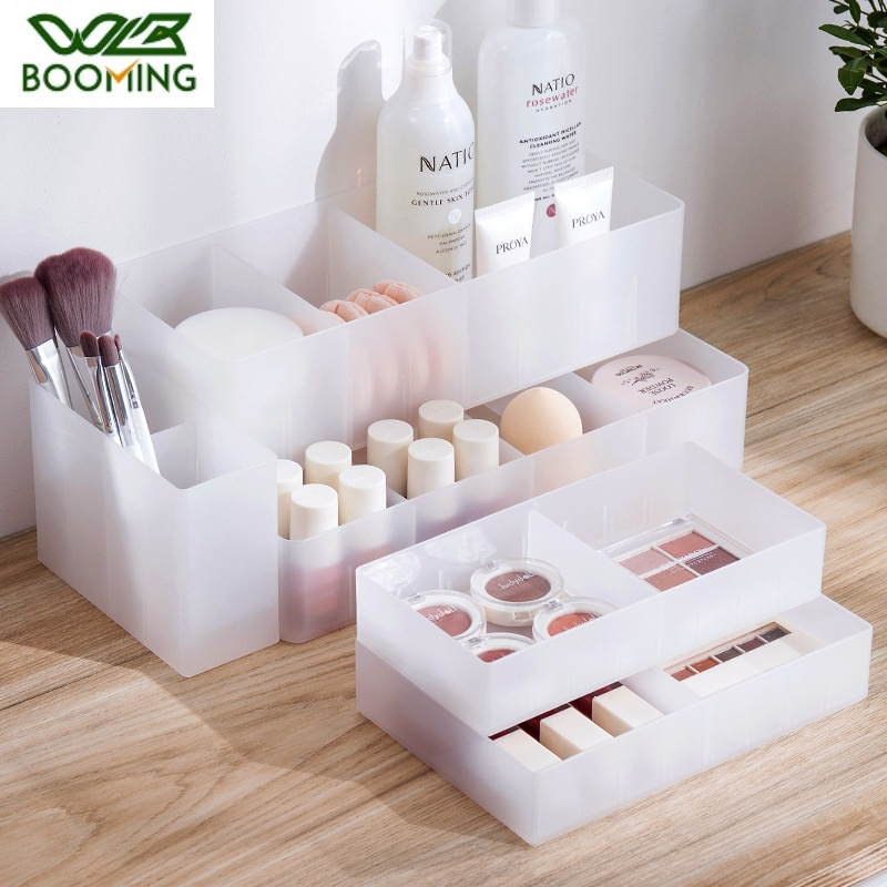 WBBOOMING Adjustable Drawer Style Make Up Storage Box Plastic Sundries Cosmetic Container Divider Desktop Sundries Organizer
