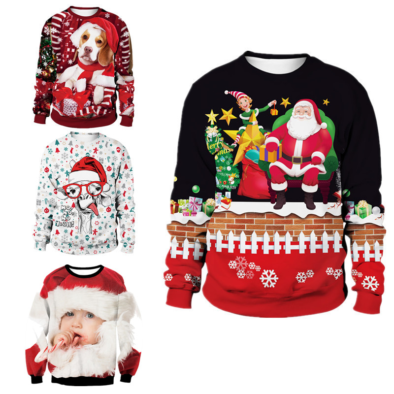 New Arrivals Funny Print Christmas Sweaters Jumpers Men Women Autumn Winter CLothing Pullover Sweatshirt For Xmas Holiday Party