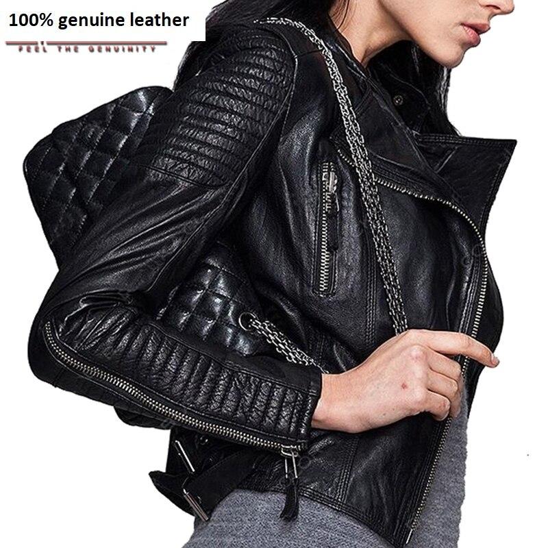 Genuine Leather Jacket Women Leather Jacket Sheepskin Black Soft Slim Fit Punk Bomber Female Leather Coat Autumn 049